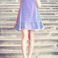 Stripe Chiffon Swing Dress B005671