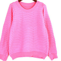 Round Neck Wave Striped Long Sleeve Knit Sweater