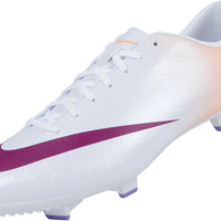 Nike Womens Mercurial Victory IV FG Soccer Cleats - White with Atomic Orange - SoccerPro.com