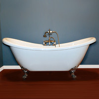 "Cambridge Plumbing 68.62"" x 28.5"" Claw Foot Slipper Bathtub"