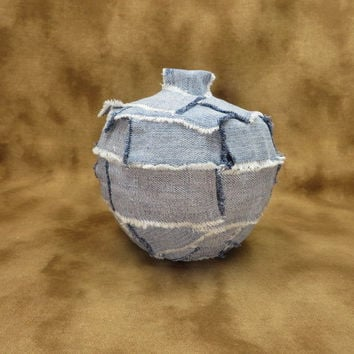 Denim Patchwork Jewelry Box - Shabby Chic Accessories - Recycled Denim - Gifts For Her