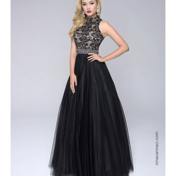 Preorder - Nina Canacci 1247 Black High Neck Tulle Long Dress 2016 Prom Dresses