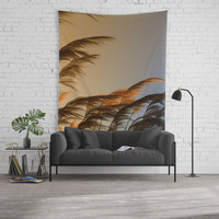 Sunset in autumn. Pampa grass Wall Tapestry by vanessagf