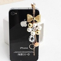 Brandbuy Earphone Jack Accessory Gold Plated Pink Flowers Golden Bow Crystal Golden Beads Pearl Dust Plug Ear Jack For Audio Headphone / Iphone 4 4S / Samsung Galaxy S2 S3 Note I9220 / HTC / Sony / Nokia / Motorola / LG / Lenovo / iPad / iPod Touch / Other