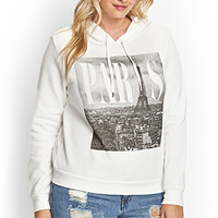 FOREVER 21 PLUS Paris Hoodie White/Black