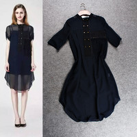 Studded Fringed Sleeve Asymmetrical Chiffon Dress