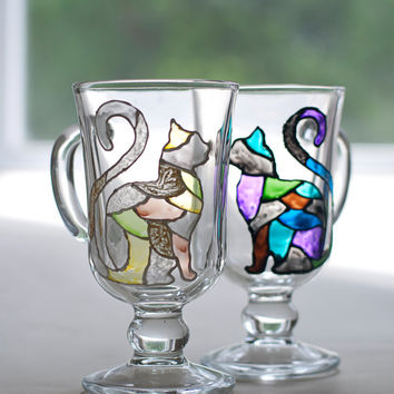 Set of 2 hand painted mug with black and white mosaic cats. Stained-glass cup. Kitchen decor. Engagement, anniversary gift. Gift for couple