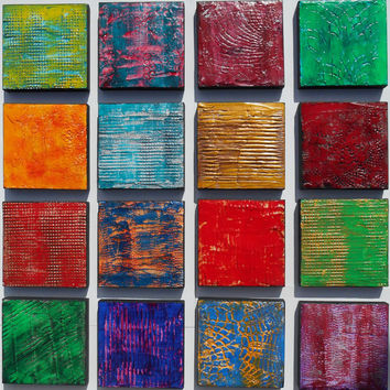 Large Wood Block Art - Multi Panel Art - Modern Art - Acrylic Painting - Modern Wall Art - Wood Panel Wall Art - Wood Wall Sculpture
