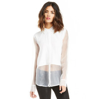 White Collared Long Sleeve Mesh Pullover