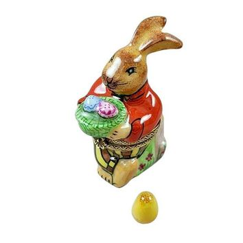 BROWN EASTER RABBIT WITH REMOVABLE EGG LIMOGES BOXES
