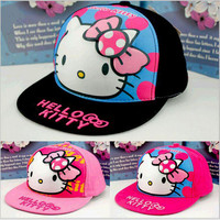 New Fashion Brand Style Summer Girl Hello Kitty Three-Dimensional Cartoon HipHop Hat Kids Snapback Baseball Caps Fit 5-10 Years