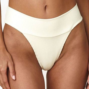 Tamarindo Ribbed High Cut Bikini Bottom - Cream Rib