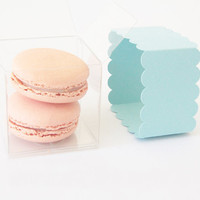 Light Blue Scallop Bands & Clear Favor Boxes by Tableau Party