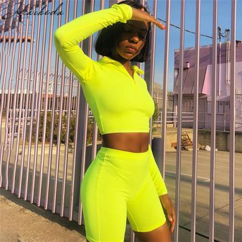 Macheda Sexy Solid Top And Pants 2 Pieces Set Women Tight Long Sleeve Top And Tracksuit Shorts Sets Casual Women 2 Pcs Set