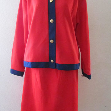 14-1129 Vintage 1970s Polyester Skirt and Top / Polyester Two Piece Suit / Red and Blue Suit / Jackie O Suit  / Skirt Suit / Polyester Skirt
