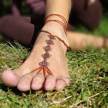 Macrame Barefoot Sandal Terracotta Anklet flower pendants Yoga Beach Wedding Bellydance hippie boho gypsy festival