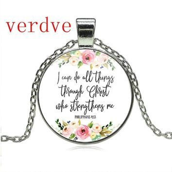 Philippians 4:13 I can do all things through Christ Bible Verse Pendant Necklace Inspirational Jewelry Christian Gifts