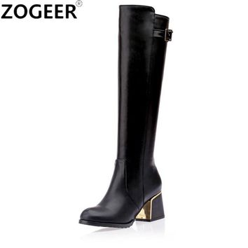 Plus size 34-46 Hot 2017 Winter Knee High Boots Luxury Warm Women Snow Boots Square Medium Heel Long PU Leather Plush Fur Shoes