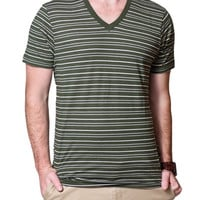 PACT Dufflebag Stripe V Neck Tee