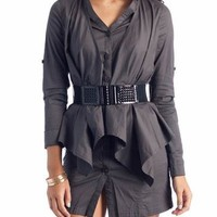 belted faux jacket dress $43.20 in BLACK GREY - Casual | GoJane.com