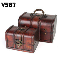 Wooden Vintage Jewellery Storage Box Metal Lock Organizer Case Wood Boxes Antique Retro Candy Container Cases