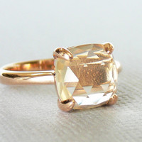 SALE 10% off - Ready to Ship - Faceted Rose-cut Cushion Lemon Quartz 18K Rose Gold Vermeil Ring