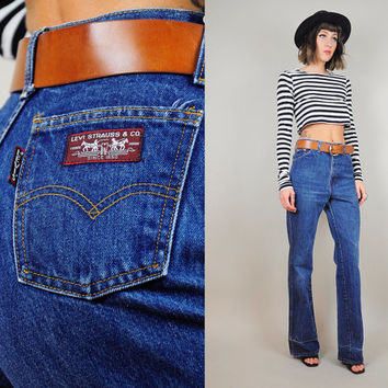 Levi's BIG E vtg 70's high waist Jeans BOYFRIEND flared Rare dark denim slouchy xs / small