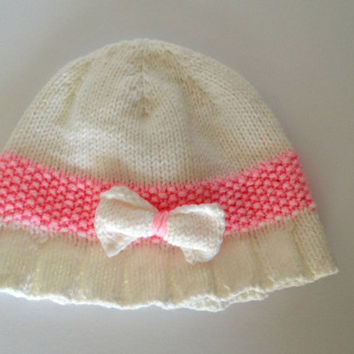 hand knit hat, baby girl hat, baby hat with bow, knit hat with brim, 6 months old, white baby hat, knit infant hat, baby girl bow hat,