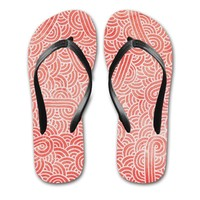 'Peach echo and white swirls doodles' Flip Flops by Savousepate on miPic
