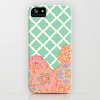 Floral Doodle on Mint Moroccan Lattice iPhone & iPod Case by micklyn | Society6