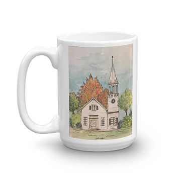 Watercolor Fall Coffee Mug, Unique mug, Autumn painting, artist cup, pretty mug, New England painting, watercolor pen and ink, blue mug