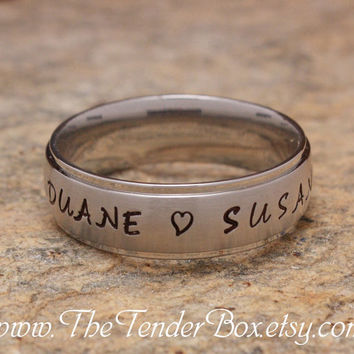Free Shipping personalized ring sweet heart ring hand stamped high grade 316 stainless steel TB4