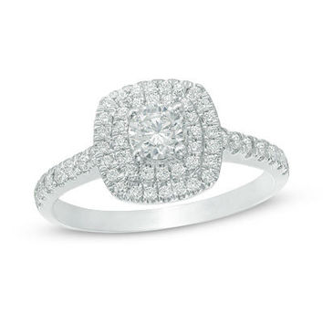 3/4 CT. T.W. Diamond Double Square Frame Engagement Ring in 14K White Gold - View All Rings - Zales