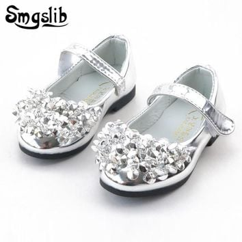 Smgslib Baby girl shoes school Rhinestone toddler girls glitter sneakers PU Leather Shoes Princess party Flat children Shoes