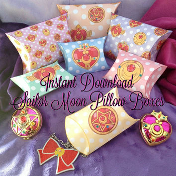 Sailor Moon Inspired Pillow Boxes - Instant Download - Printable - Scouts Kawaii Transformation Locket Pastel Goth Party Favor Gift Box