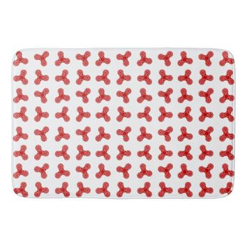 Red Fidget Spinner Design Bath Mat