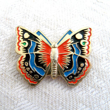 Vintage pin butterfly  Animal  badge   Soviet Union collectible badge Children's Pin  Made in USSR  Insect Brooch   Butterfly Button Pin