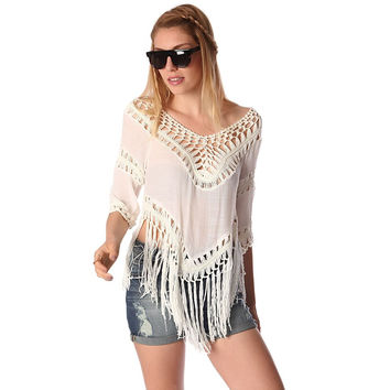 Cream fringed crop top with crochet detailing