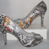 Alice in Wonderland Heels featuring Original Sketches by John Tenniel - Made to Order