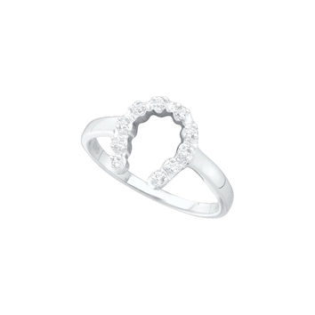 14kt White Gold Womens Round Diamond Simple Lucky Horseshoe Ring 1/20 Cttw 43624
