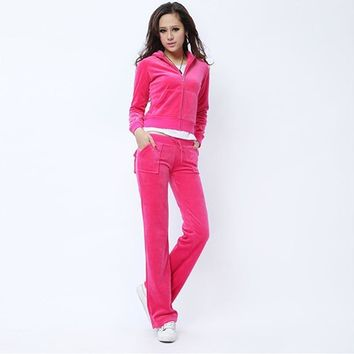Juicy Couture Pure Color Velour Tracksuit 6047 2pcs Women Suits Rose