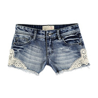 Crochet-Paneled Denim Shorts (Kids)