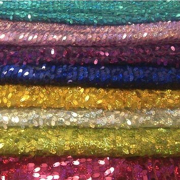 High Quality Sparkly Embroidery Mesh Lace Sequin Fabric Melon Seeds Sequins Bead Piece Fabric For Stage Background Decoration
