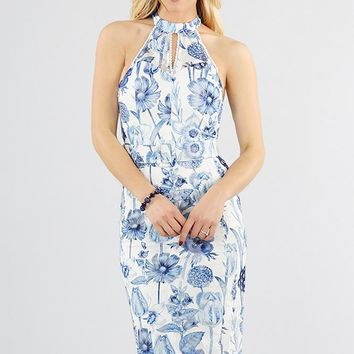 Floral Printed Lace Midi Dress