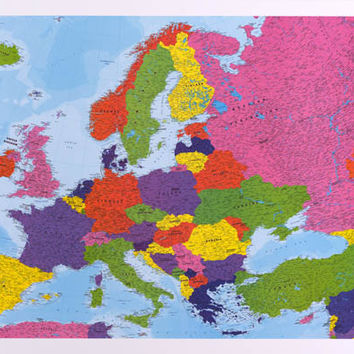 Map of Europe with Flags Education Poster 24x36
