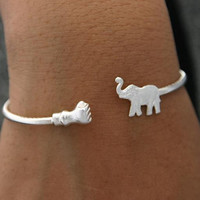 Sterling Silver Jewelry Elephant Fist Bracelet by ulovejewelry