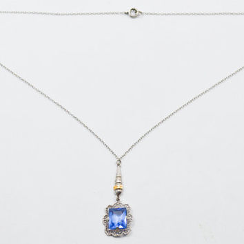 10K Delicate Art Deco Filigree Blue Spinel Necklace