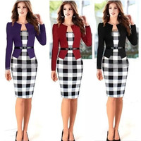 2015 Women Elegant Belted Tartan Long Sleeve Patchwork Tunic Work Business Casual Party Bodycon Pencil Sheath Dress = 1956683908