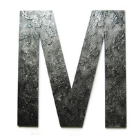 Decorative Letter M, faux metal letters, industrial decor, textured letters in faux steel finish, made to order