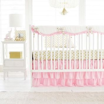 Gold Polka Dot in Pink Baby Bedding Set